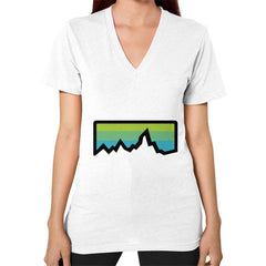 Abstract Mountain Light Invert V-Neck (on woman) Shirt