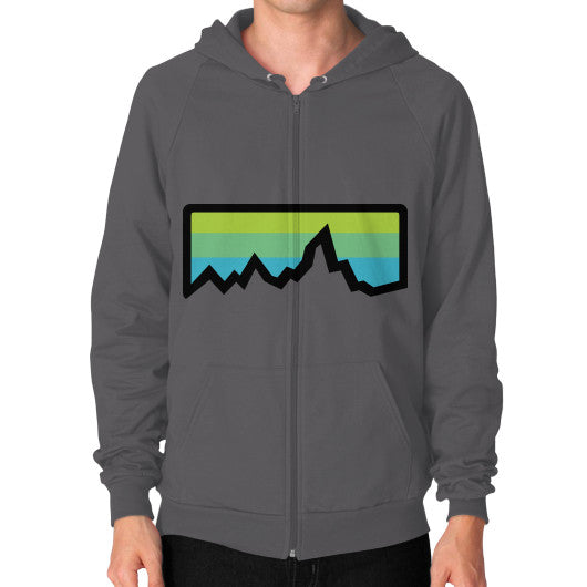 Abstract Mountain Light Invert Zip Hoodie (on man) Shirt Asphalt Zacaca Shop USA