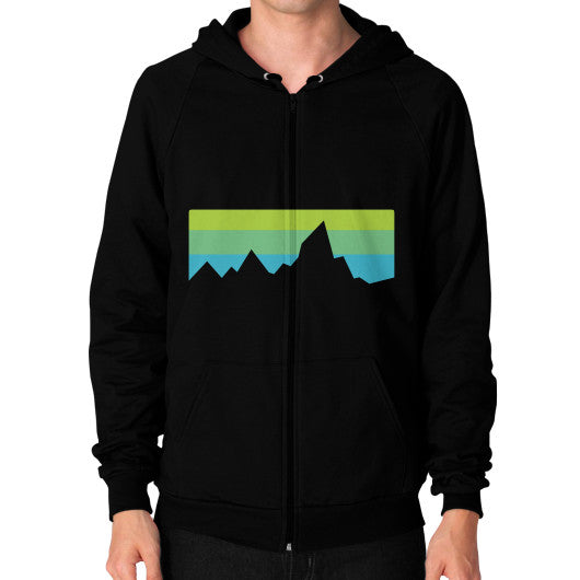 Abstract Mountain Light Invert Zip Hoodie (on man) Shirt Black Zacaca Shop USA