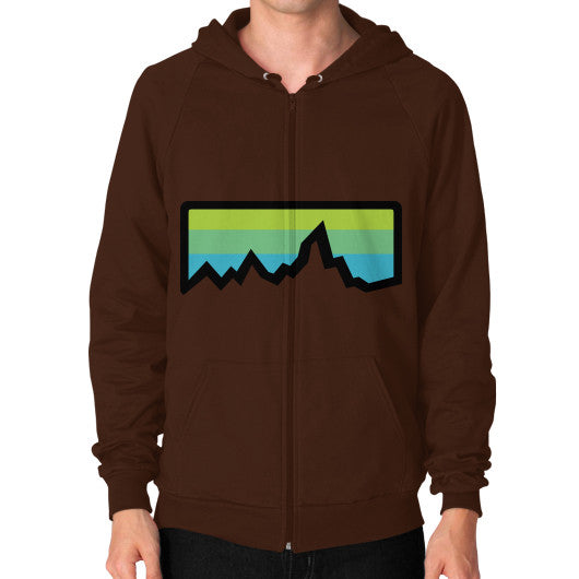 Abstract Mountain Light Invert Zip Hoodie (on man) Shirt Brown Zacaca Shop USA