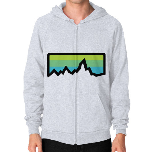 Abstract Mountain Light Invert Zip Hoodie (on man) Shirt Heather grey Zacaca Shop USA