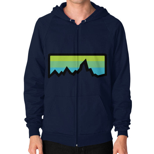 Abstract Mountain Light Invert Zip Hoodie (on man) Shirt Navy Zacaca Shop USA