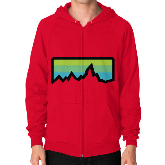 Abstract Mountain Light Invert Zip Hoodie (on man) Shirt Red Zacaca Shop USA