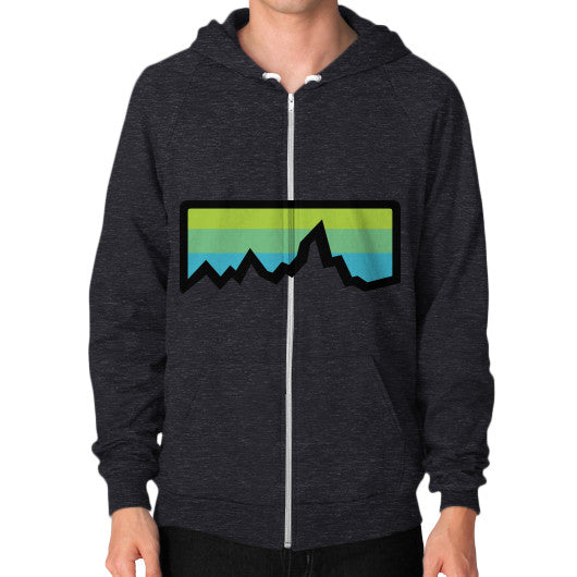 Abstract Mountain Light Invert Zip Hoodie (on man) Shirt Tri-Blend Black Zacaca Shop USA