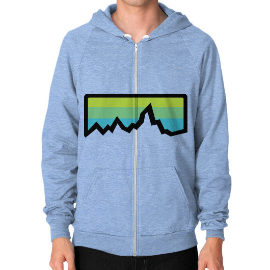 Abstract Mountain Light Invert Zip Hoodie (on man) Shirt Tri-Blend Blue Zacaca Shop USA