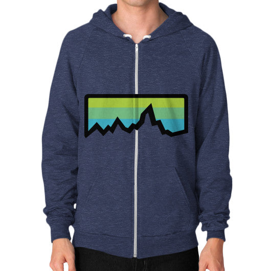 Abstract Mountain Light Invert Zip Hoodie (on man) Shirt Tri-Blend Navy Zacaca Shop USA