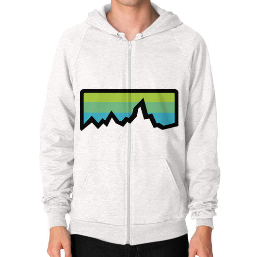 Abstract Mountain Light Invert Zip Hoodie (on man) Shirt Tri-Blend Oatmeal Zacaca Shop USA