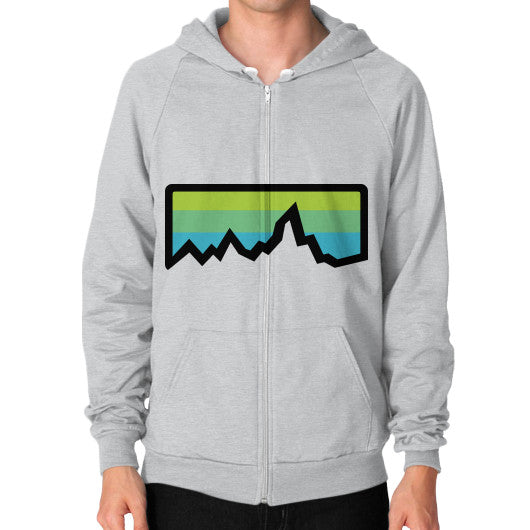 Abstract Mountain Light Invert Zip Hoodie (on man) Shirt Tri-Blend Silver Zacaca Shop USA