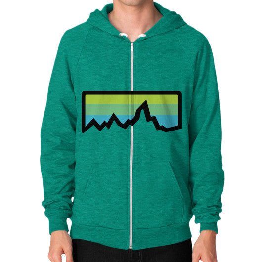 Abstract Mountain Light Invert Zip Hoodie (on man) Shirt Tri-Blend Vintage Green Zacaca Shop USA