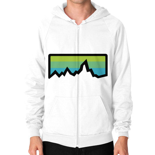 Abstract Mountain Light Invert Zip Hoodie (on man) Shirt White Zacaca Shop USA