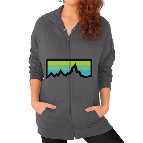 Abstract Mountain Light Invert Zip Hoodie (on woman) Shirt Asphalt Zacaca Shop USA