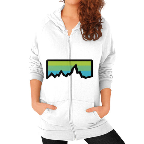Abstract Mountain Light Invert Zip Hoodie (on woman) Shirt White Zacaca Shop USA