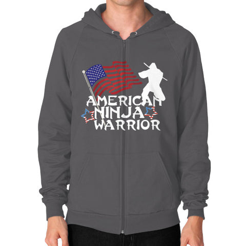 American Ninja Warrior Zip Hoodie (on man) Shirt - Zacaca Shop USA - 2