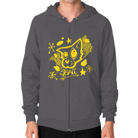 Animal Rescue Effort Zip Hoodie (on man) Asphalt Zacaca Shop USA