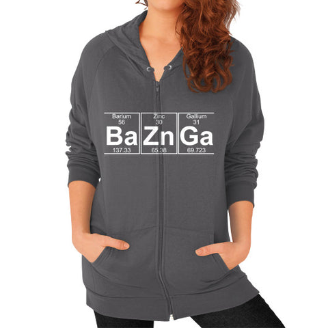 Ba Zn Ga (baznga) Zip Hoodie (on woman) Shirt Asphalt Zacaca Shop USA