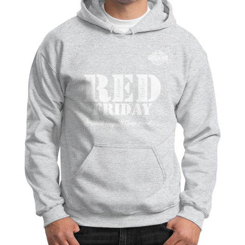 BAAM RED FRIDAY Gildan Hoodie (on man) Ash grey Zacaca Shop USA