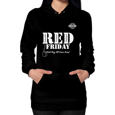 BAAM RED FRIDAY Hoodie (on woman) Black Zacaca Shop USA