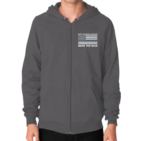 Back the Blue Police Zip Hoodie (on man) Shirt - Zacaca Shop USA - 2