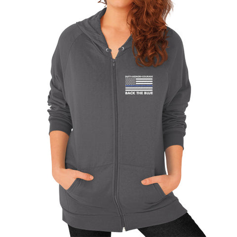 Back the Blue Police Zip Hoodie (on woman) Shirt - Zacaca Shop USA - 2