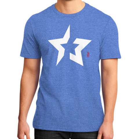 Back to basics Star (White) District T-Shirt (on man) Heather blue Zacaca Shop USA