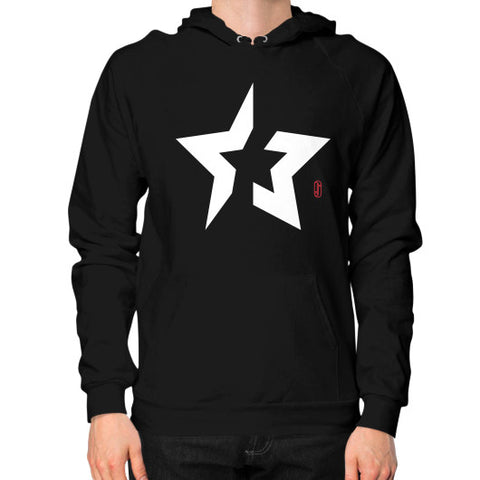 Back to basics Star (White) Hoodie (on man) Shirt Black Zacaca Shop USA