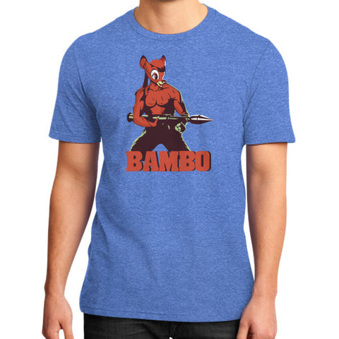 BAMBO YOUR FOREST COMMANDO District T-Shirt (on man) Heather blue Zacaca Shop USA