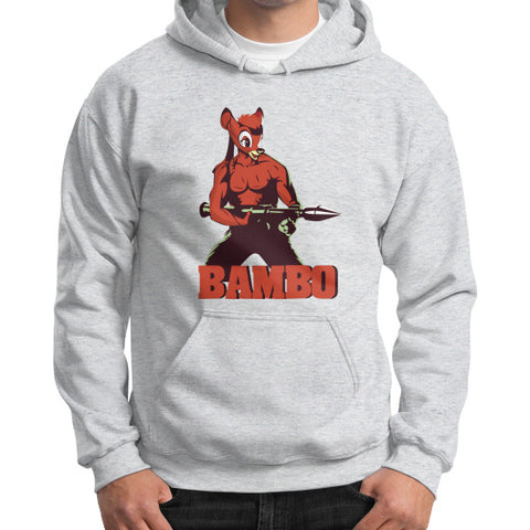 BAMBO YOUR FOREST COMMANDO Gildan Hoodie (on man) Ash grey Zacaca Shop USA