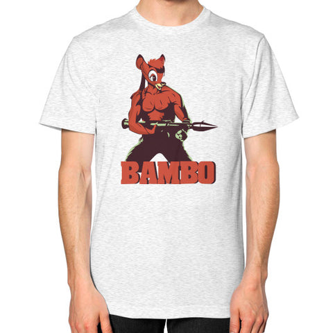 BAMBO YOUR FOREST COMMANDO Unisex T-Shirt (on man) Ash grey Zacaca Shop USA