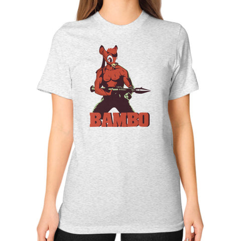 BAMBO YOUR FOREST COMMANDO Unisex T-Shirt (on woman) Ash grey Zacaca Shop USA