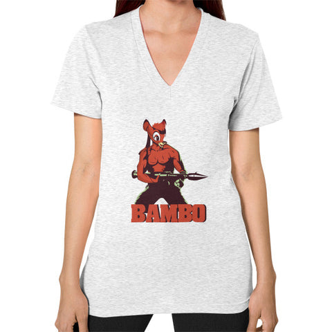 BAMBO YOUR FOREST COMMANDO V-Neck (on woman) Ash grey Zacaca Shop USA