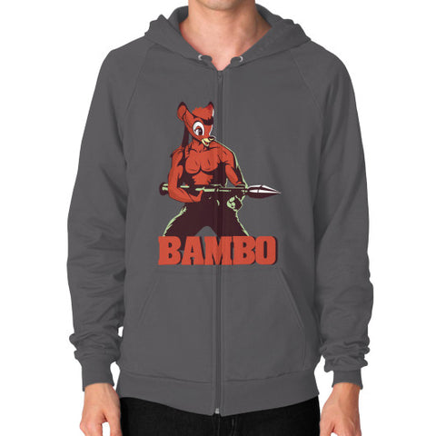 BAMBO YOUR FOREST COMMANDO Zip Hoodie (on man) Asphalt Zacaca Shop USA