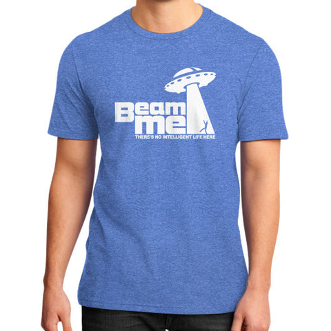 Beam Me Up No Intelligent Life 2 (white) District T-Shirt (on man) Heather blue Zacaca Shop USA