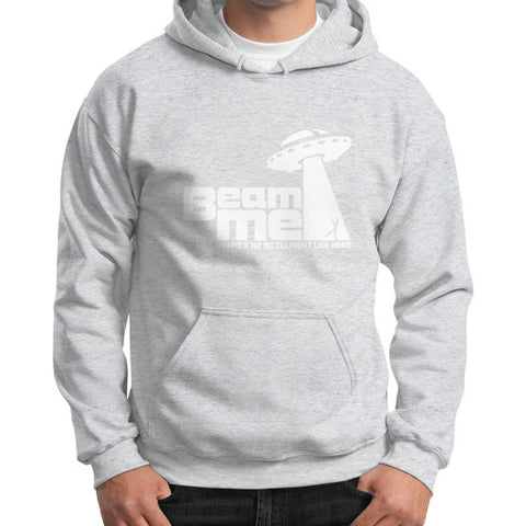 Beam Me Up No Intelligent Life 2 (white) Gildan Hoodie (on man) Shirt Ash grey Zacaca Shop USA