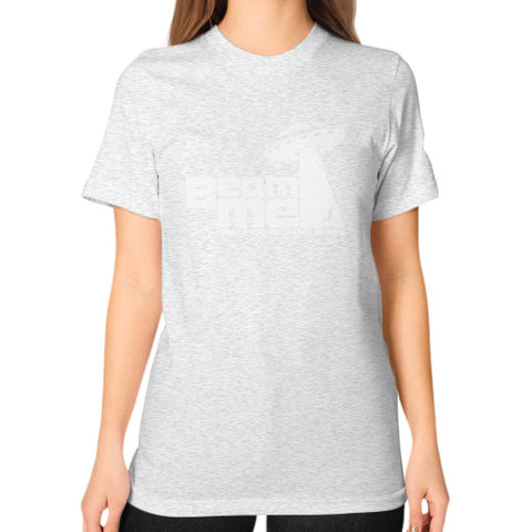 Beam Me Up No Intelligent Life 2 (white) Unisex T-Shirt (on woman) Ash grey Zacaca Shop USA