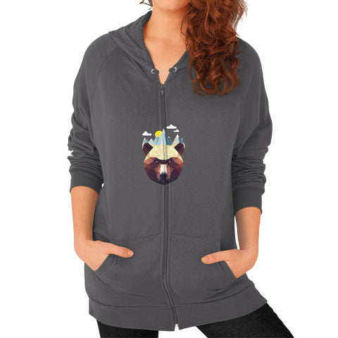 Bear Mountain Zip Hoodie (on woman) Shirt Asphalt Zacaca Shop USA