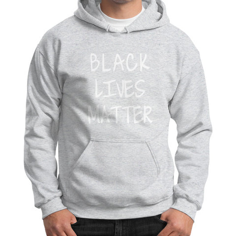 Black Lives Matter Gildan Hoodie (on man) Shirt - Fonts White - Zacaca Shop USA - 2