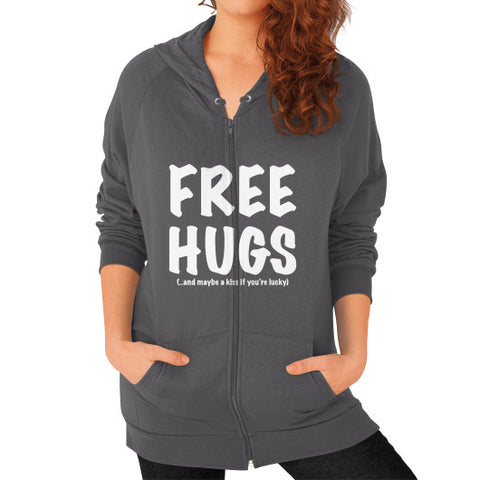 Free Hugs Zip Hoodie (on woman) Shirt - Zacaca Shop USA - 2