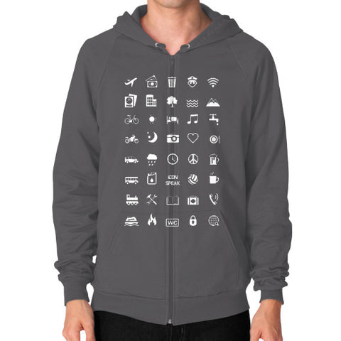 IconSpeak Zip Hoodie (on man) - Zacaca Shop USA - 2
