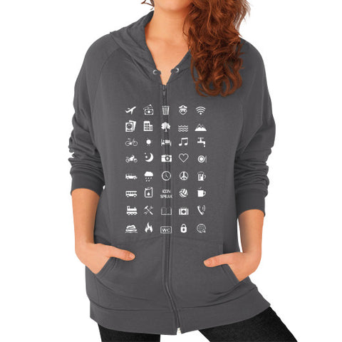 IconSpeak Zip Hoodie (on woman) - Zacaca Shop USA - 2