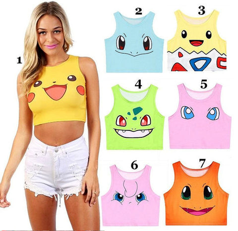 Pokemon go tank top, Pikachu, Bulbasaur, Charmander, Squirtle, One size