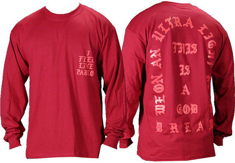 I Feel like Pablo The Real Life of Pablo Yeezy , West Long Sleeve t shirt-Long Sleeve-54143-45 L/S Tee