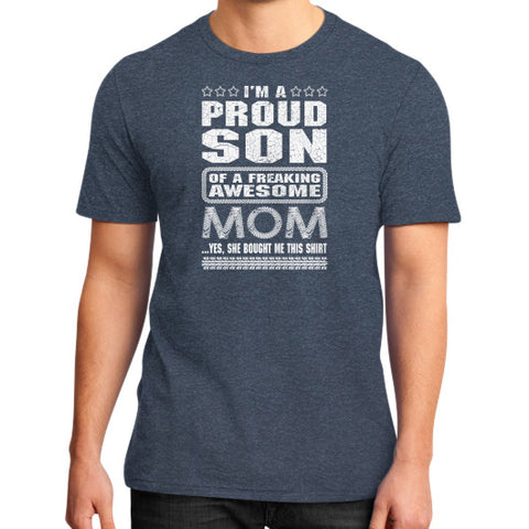 IM A PROUND SON MOM District T-Shirt (on man) Heather navy Zacaca Shop USA