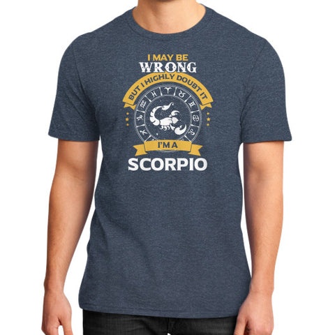 IM A SCORPIO District T-Shirt (on man) Heather navy Zacaca Shop USA