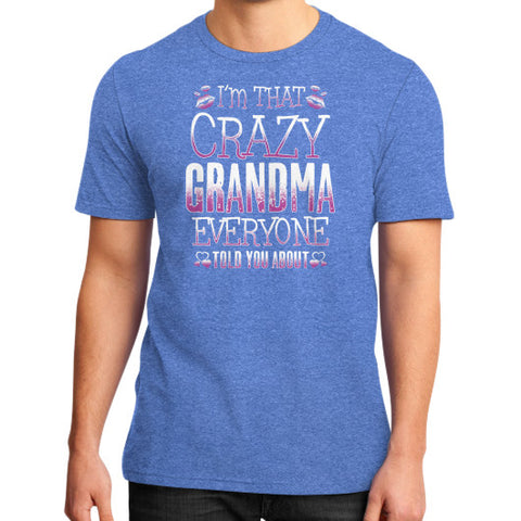 IM THAT CRAZY GRANDMA District T-Shirt (on man) Heather blue Zacaca Shop USA