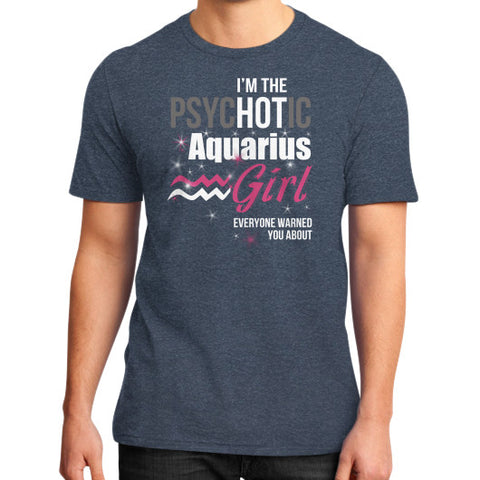 IM THE PSYCHOTIC AQUARIUS District T-Shirt (on man) Heather navy Zacaca Shop USA