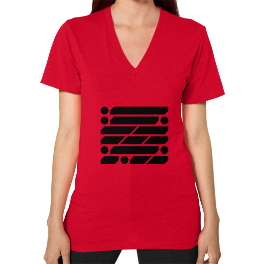 M_O_R_S_E Dark Variant V-Neck (on woman) Shirt Red Zacaca Shop USA