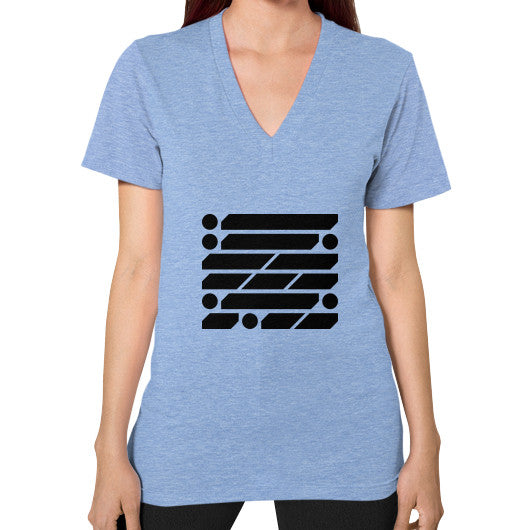 M_O_R_S_E Dark Variant V-Neck (on woman) Shirt Tri-Blend Blue Zacaca Shop USA