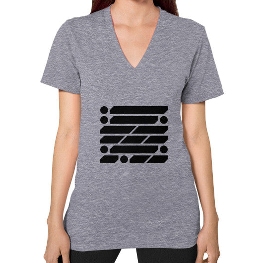 M_O_R_S_E Dark Variant V-Neck (on woman) Shirt Tri-Blend Grey Zacaca Shop USA