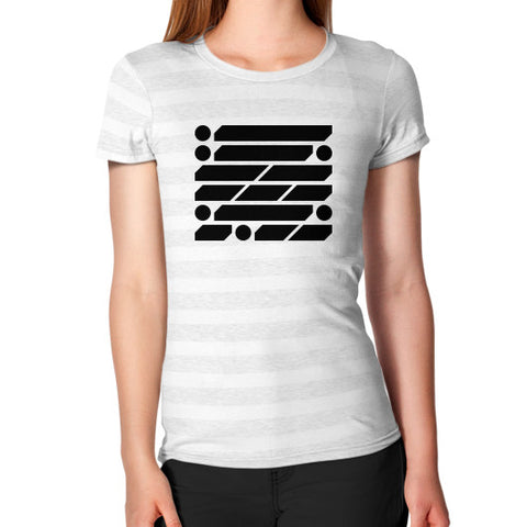 M_O_R_S_E Dark Variant Women's T-Shirt Ash White Stripe Zacaca Shop USA