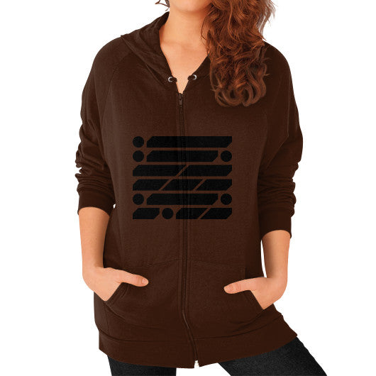 M_O_R_S_E Dark Variant Zip Hoodie (on woman) Shirt Brown Zacaca Shop USA
